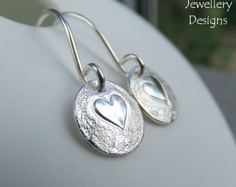 Sterling Silver Disc Earrings - HEARTS - Handmade Handstamped Metalwork Jewelry - Love Hearts Hand Stamped