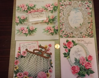 SALE Vintage Lot of 4 Mother's Day Cards used in Pinks and Greens