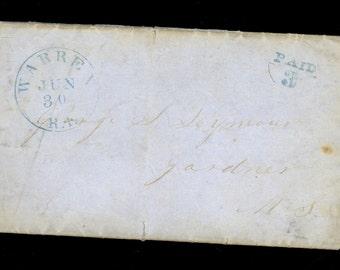 1853 Barrington Warren Rhode Island Paid 3 CDS SFL Ship Letter California I16