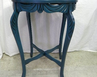 Hand Painted Round Side Table Cottage Chic Beach Chic