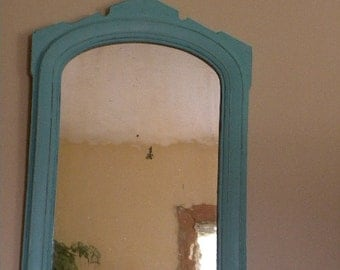 Antique Shabby Painted Mirror Cottag Chic