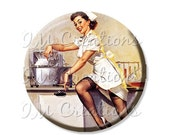 "SALE - Pocket Mirror, Magnet or Pinback Button - Wedding Favors, Party themes - 2.25""- Vintage Pinup Girl Nurse MR167"