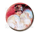 "SALE - Pocket Mirror, Magnet or Pinback Button - Wedding Favors, Party themes - 2.25""- Vintage 1920s Flirty Flapper MR349"