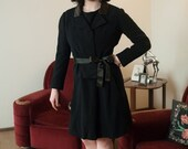 50% OFF SALE - Vintage 1960s Dress - Chic GALANOS Classic Little Black Cocktail Dress in Wool with Satin Trim and Matching Jacket