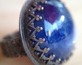 Sterling Silver Avalon Ring with Blue Kyanite Teardrop Cabochon