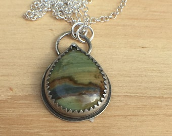 Sterling Silver Pendant with Fossilized Peat Moss