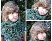 Leaf Green Honeycomb Cowl Scarf,  Ladies O/S With Wood Buttons.  Custom always available..
