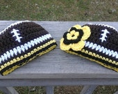Newborn Pittsburgh Steelers Football Beanie Hat,  Boys or Girls Design.  Custom order also available all sizes.