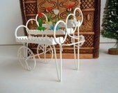 Vintage Dollhouse Miniature Plant Stand Cart and Mini Flower Pots