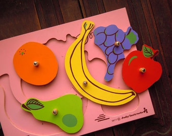 Vintage 1977 Judy Instructo 5 Piece Fruit Puzzle | Pink Wooden Puzzle | Orange Grapes Banana Apple Pear
