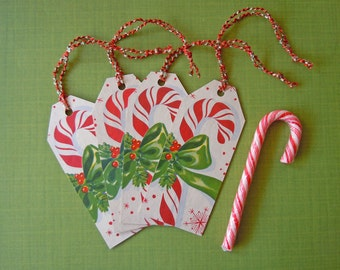 4 Christmas Gift Tags made with Vintage Mid Century Candy Cane Wrapping Paper Stocking Stuffer
