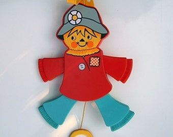 Vintage 1978 Childrens Crib Toy Pull Toy - Fisher Price Jolly Jumping Scarecrow - Pull String - Moves Eyes - Squeaks