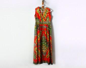 Boho Hippie Maxi Dress Bright Colors Clothing Retro Vintage Dress 1960 Dress Sleeveless Dress Mid Century Empire Waist