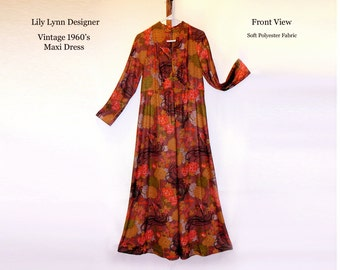 Vintage 1960's Lily Lynn Designer Young Size Dress Hippie Maxi Dress Retro Dress Polyester Fall Colors Orange