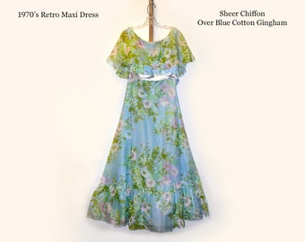Hippie Maxi Dress Bridesmaid Dress Wedding Evening Formal Retro Vintage Dress 1970 Dress Empire Waist Cotton Chiffon