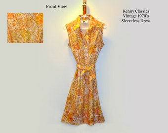 Kenny Classics Vintage Dress/ Summer Dress/ Sleeveless Dress/ Hippie Dress/ Rockabilly Dress/ Retro Dress/ 1970's
