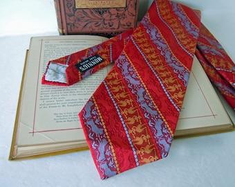 Vintage 1970 Wide Retro Tie Necktie Liebert Tie Works Striped Red Blue Gold Tie Mythical Creatures