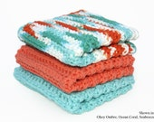 CUSTOM Washcloths (Set of 3) - Cotton, Dishcloths, Dish, Wash, Cloths, Crocheted, Kitchen, Bath, Absorbent, CHOICE of COLORS, Made to Order