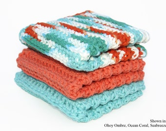 Kitchen Washcloths, Crocheted Cotton Washcloths, Coral and Turquoise, Absorbent Cotton Dishcloths, Custom Washcloths, CHOICE of COLORS