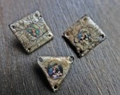 Grungy Mary. Three (3) polymer clay connectors with crackle.