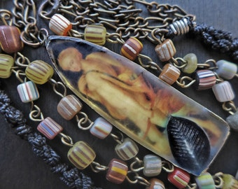 """Art necklace with rustic resin- """"Diana the Hunter""""- handmade artisan mixed media jewelry by fancifuldevices"""