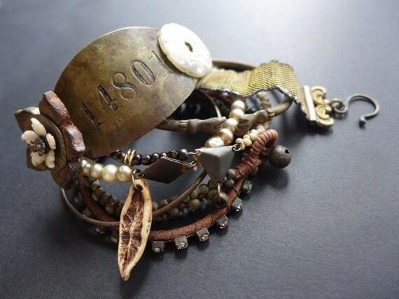 Palingenesis. Assemblage bracelet set in earthy neutrals.