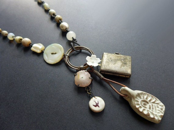 Pregnatress. Rustic assemblage cluster necklace in white.