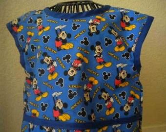 Toddler Mickey Mouse Art Smock, Apron, Bib With Royal Blue Bias Trim. Size 3t-4t