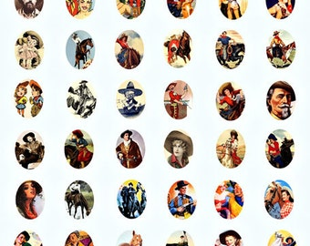 Country life Western Cowboy Cowgirls horses ART digital download  collage 18 x 25 mm oval  cameos SIZE cow boy cow girl