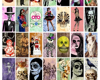 day of the deads skull skeletons digital download collage sheet 1 BY 2 inch graphics images