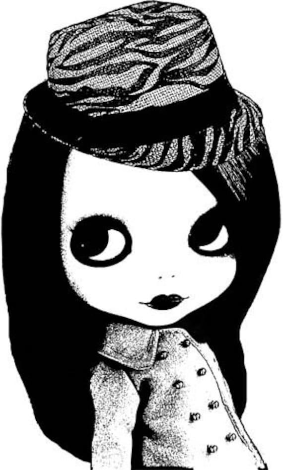 blythe doll fedora hat printable black and white art Digital Image Download graphics clipart png clip art digi stamp digital stamp dolls