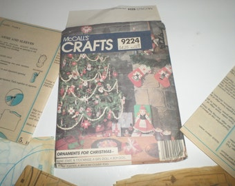 Vintage McCall's Crafts Pattern 9224 - Christmas Craft Patterns - Ornaments Pattern - Doll Patterns - Tree Topper Pattern - Stockings Stars