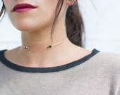 Neck Cuff, Onyx, delicate, dainty, layering necklace, stone, wire, brass, gold, bezel // IN ORBIT
