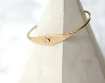 Moonstone, cuff, bracelet, brass, sunburst, thin, stacking, wire // HELIOS CUFF