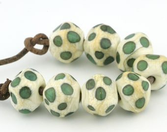 Crystal Ivory and Aqua Spots Handmade Glass Lampwork Beads (8 Count) by Pink Beach Studios (2512)