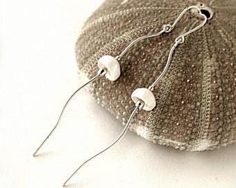 Jellyfish Earrings -  Beach Jewelry - Sterling Silver Dangle Earrings - Lightweight Earrings - Delicate earrings - Ocean Jewelry