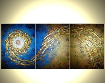 Abstract Blue Gold Textured ORIGINAL Modern PAINTING On Sale By Dan Lafferty - 24 X 54 - Take 22% Off