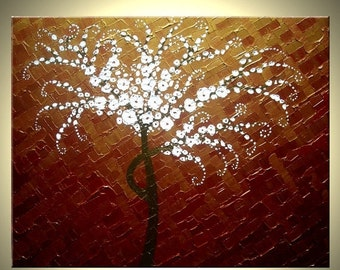 Original Abstract White Cherry Blossom TREE Impasto Landscape Textured Modern Palette Knife Painting Lafferty 30x24, 22% Off