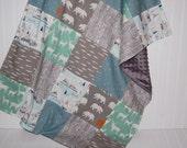 patchwork minky baby blanket-baby blanket- woodland baby blanket- elk baby blanket- mint baby blanket