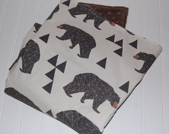 bear baby blanket- minky baby blanket