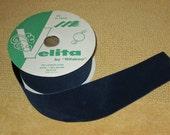 Vintage--VELITA--Wide Velvet Ribbon--Trim--Navy Blue--Almost Full Spool--Aprox 25 Yards--By Rifabco