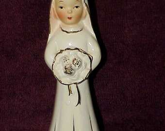 Vintage--Bride--Girl Figurine--Sweet Face--Holding Bouquet--White With Metallic Gold--