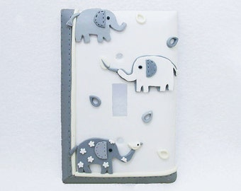 Elephant Light Switch Cover Gray and White - Children's, Nursery, Toddler's Light switch or Outlet Cover