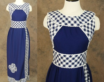 Clearance SALE vintage 60s Maxi Dress -  Mod Navy Blue Gingham Wiggle Dress - 1960s Column Gown Sz S