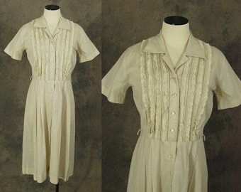 vintage 50s Dress - 1950s Beige Cotton Day Dress - Lace Bust Dress Sz M