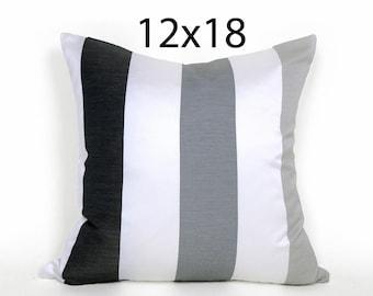 Black White Grey Striped Pillow, Contemporary Throw Pillows, Grey Silver Stripes, Modern Pillows, 12x18 Lumbar Cushion