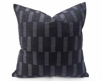 Grey Black Wool Pillow Covers, Grey Geometric Pillows, Masculine Toss Pillows, Unique Decorative Pillows, Mens Lodge Decor, 14x20, 20x20
