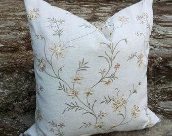 Burlap Pillows, Embroidered Burlap Pillows, Floral Burlap Pillows, Neutral Burlap Pillows,Natural Pillows, 12x18, 16x16, 18x18, 20x20, 26x26