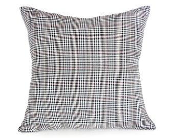 Glen Plaid Pillows, Menswear Style Pillow Covers, Black White Plaid, Houndstooth Plaid, Plaid Cushion Cover, Masculine Decor, 18x18