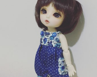 Blue Flora pattern cutie overall for Lati Yellow or Pukifee